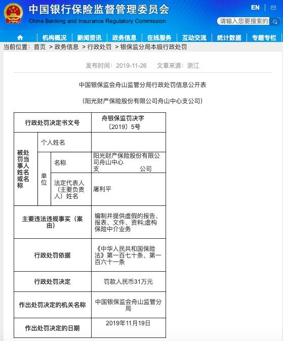 名城娱乐时时彩网址,阳光财险因编制并提供虚假报告等被罚款31万元