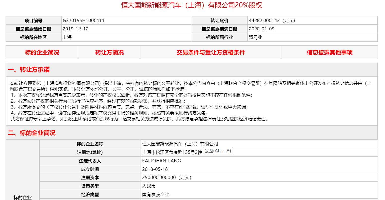 浩博吉林快3计划群,恒大国能新能源挂牌出售20%股权,转让底价4.43亿元