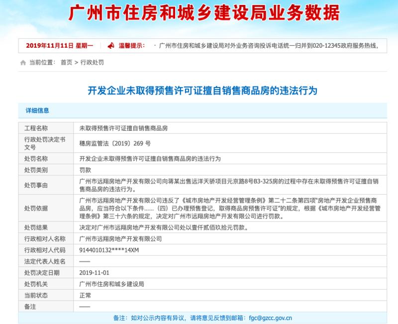 远洋集团旗下公司问题频发 又因无证卖房被地方处罚
