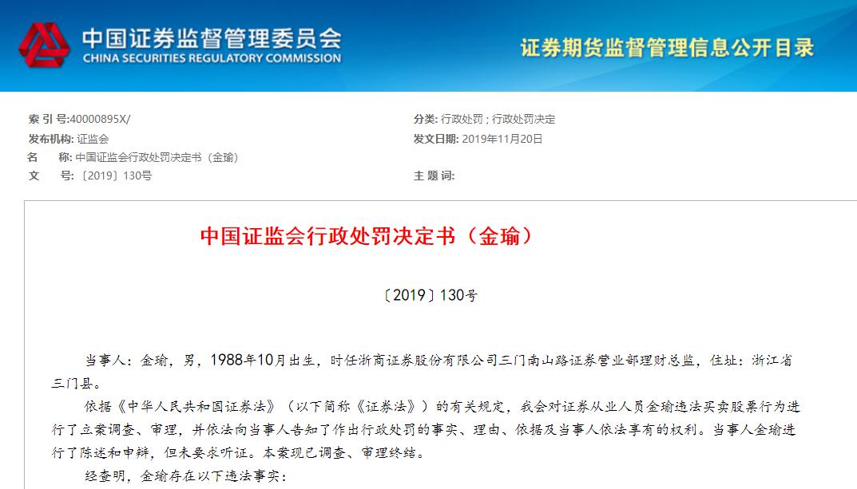 浙商证券营业部前理财总监炒股遭罚:2年亏3万