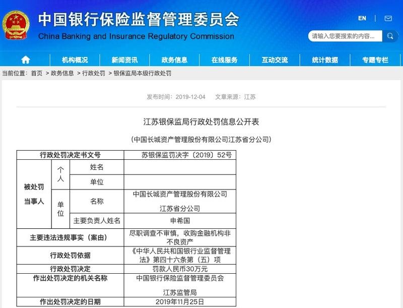 长城资产江苏省分公司收购非不良资产被罚款30万