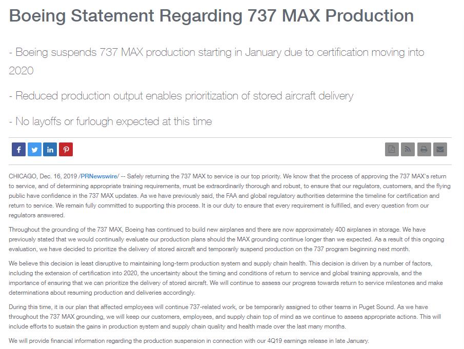 复飞无望!波音下月起暂停生产737MAX 这些公司或受影响