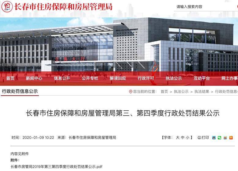 中铁置业长春公司因违规销售被当地主管部门警告并罚款3万