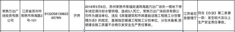 """万达商管常速子公司上国家应急管理部安全生产失信联合惩戒""""黑名单"""""""