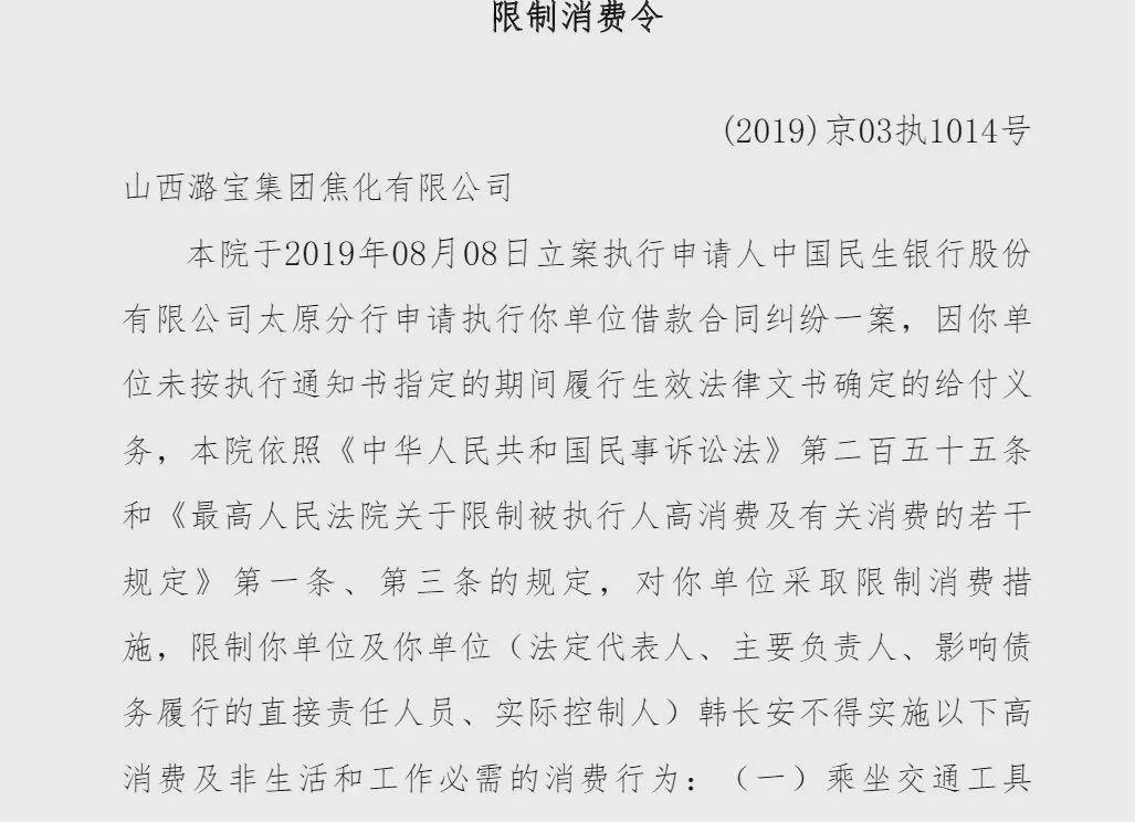 山西潞宝集团实控人被限制消费 多次因环保违规被罚