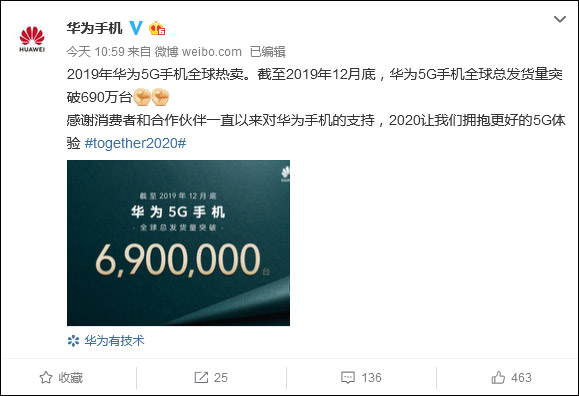 5G手机出货量华为去年突破690万,三星售超670万台