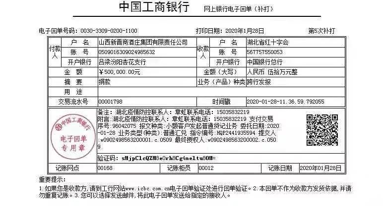 山西新晋商酒庄集团捐款50万助力抗击武汉疫情