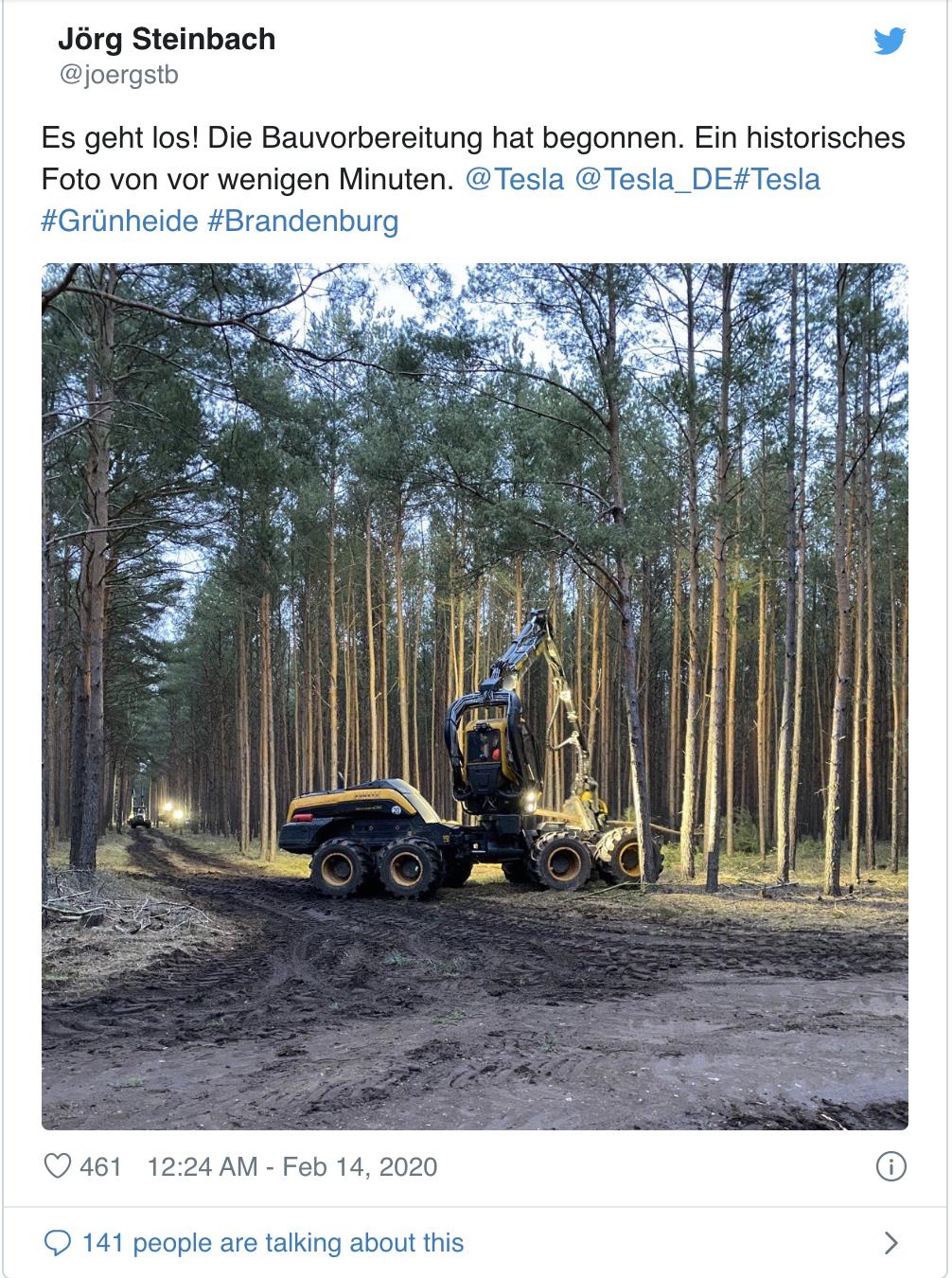 特斯拉再迎好消息:柏林超级工厂开始砍伐森林