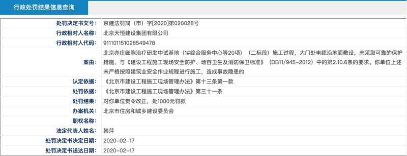 北京天恒建设集团因安全违规造成隐患被北京住建委通报处罚