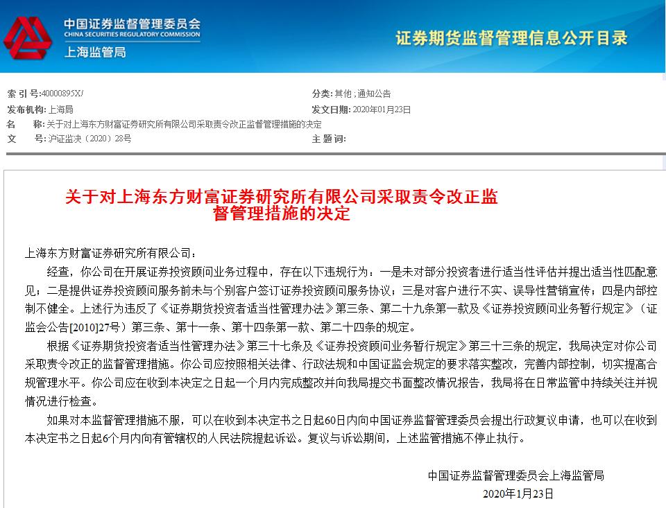 东方财富证券研究所开年遭证监会处罚,违规项不少