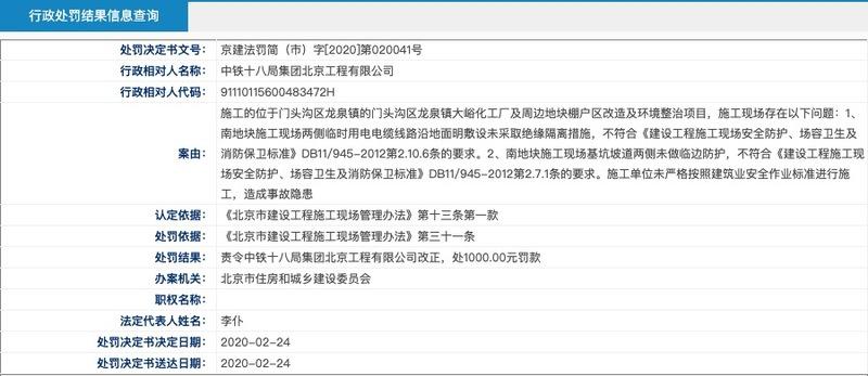 中铁十八局集团北京工程公司因施工项目存事故隐患被通报处罚 罚款1000.00元