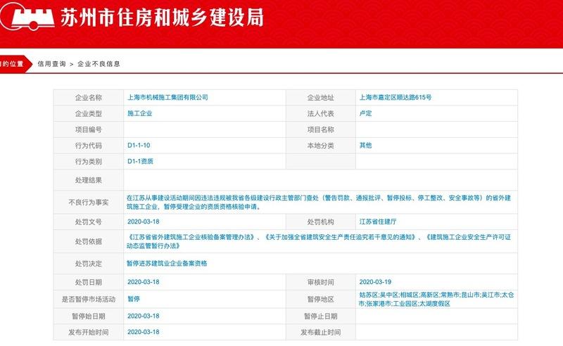 上海建工子公司因违法违规引发安全事故被苏州住建局记入企业不良信息