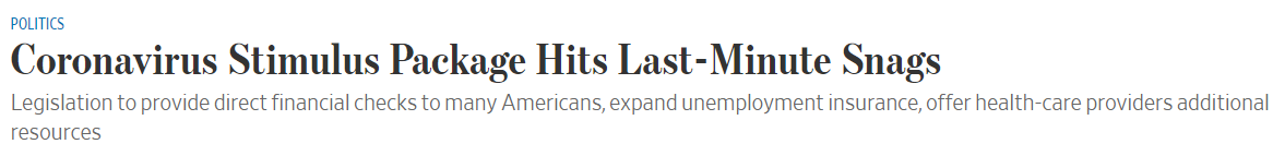 """2万亿美元法案""""卡壳"""",美股尾盘跳水收窄涨幅"""