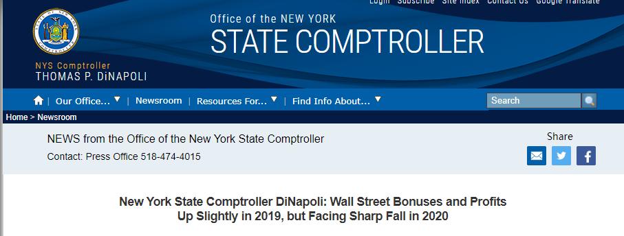 华尔街今年奖金惨了!纽约开始担忧市政预算吃紧