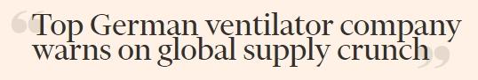 德国最大呼吸机生产商:生产供不应求 担心全球供应链