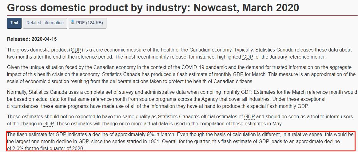 加拿大3月GDP暴跌9% 加央行宣布扩大资产购买计划