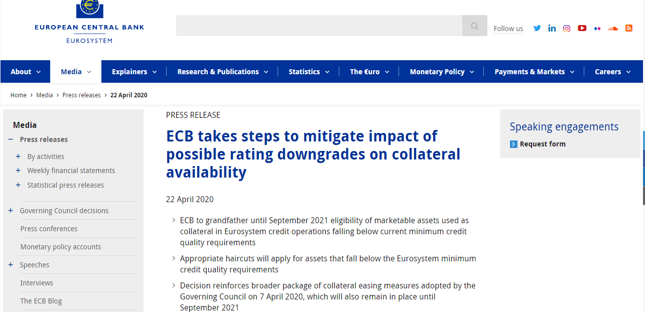 欧央行:接受垃圾债券作为抵押品 防止出现信贷紧缩