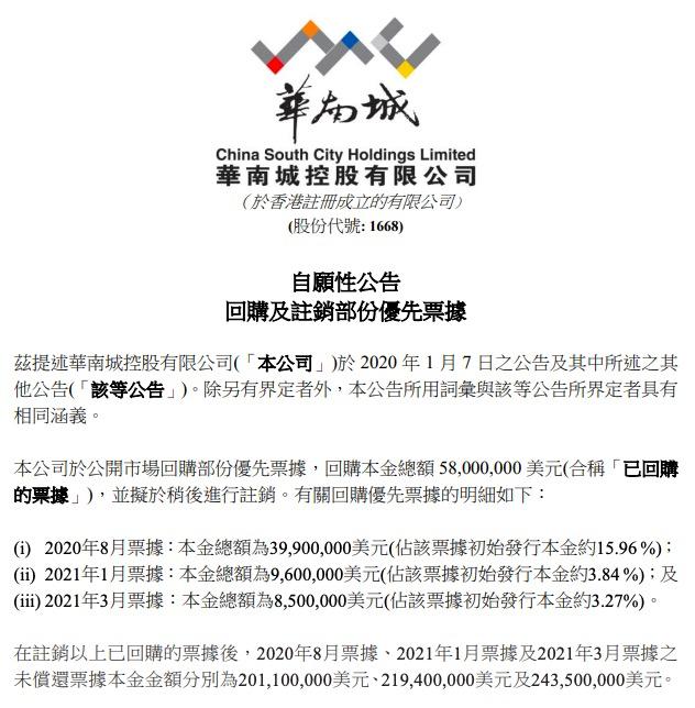 华南城公告称回购3990万美元优先票据 并拟进行注销