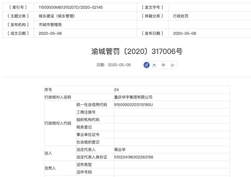 重庆华宇集团遭罚:擅自改变建设工程规划许可证及附件、附图的许可内容建设