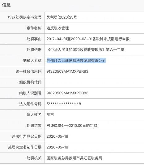 苏州武珞控股集团参股企业遭罚:违反税收管理未按期进行申报各税种