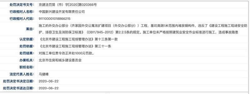 中国新兴旗下新兴建设违规施工造成事故隐患被北京住建委处罚