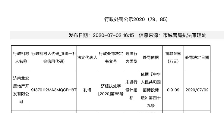 阳光城旗下济南龙宏房地产涉未进行设计招标事项遭主管部门处罚