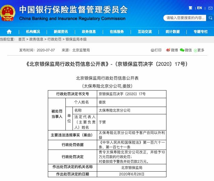 太保寿险北京分公司给予客户合同以外利益被罚10万元