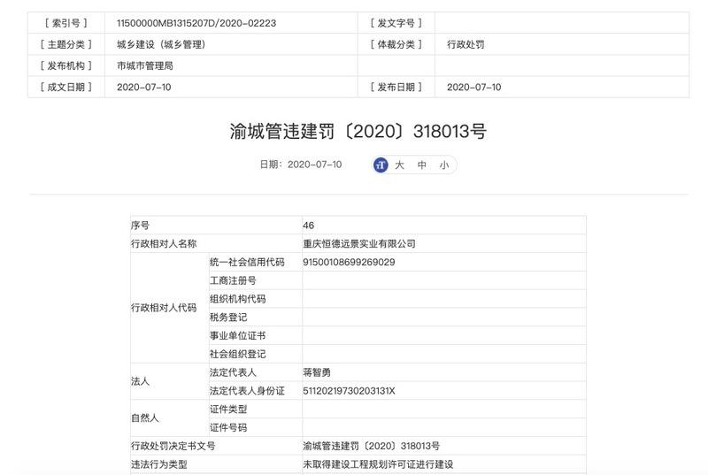 新天泽集团旗下重庆恒德远景实业涉未批先建遭主管部门处以罚款90万