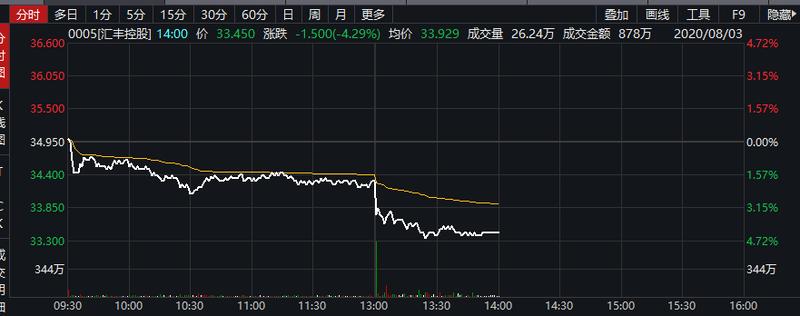 汇丰控股午后跳水跌超4% 上半年税前利润暴跌超六成