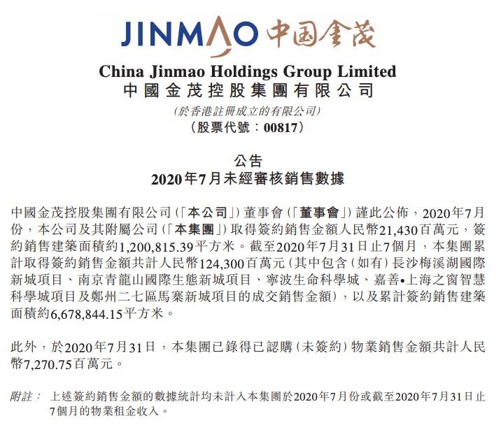 中国金茂:前7月销售1243亿完成年目标超六成 7月单月环比降43%