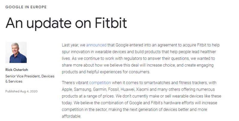欧盟对谷歌收购Fitbit案开展反垄断调查