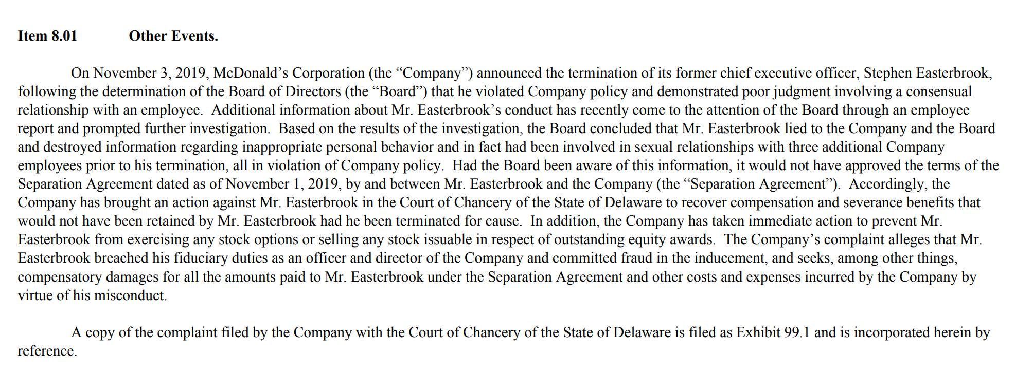 麦当劳起诉前CEO欲讨回离职补偿 涉嫌与多名员工有染
