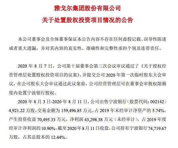 雅戈尔套现15.94亿元:减持宁波银行4921.22万股股份