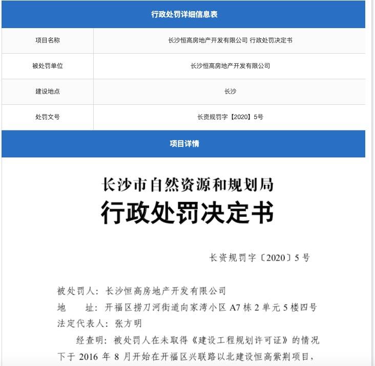 长沙恒高房地产涉违规建设被罚146万 其系香港大地企业与旭辉合资公司