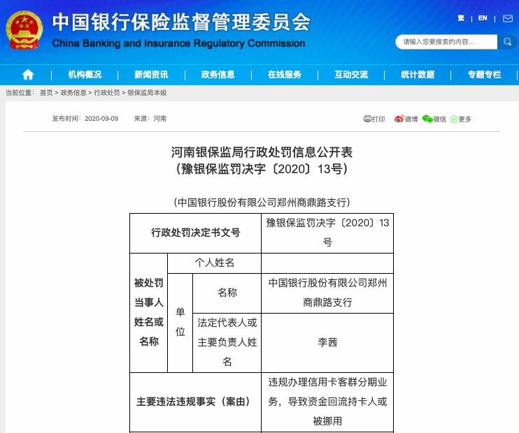 违规办理信用卡分期业务 中国银行两支行被罚80万元