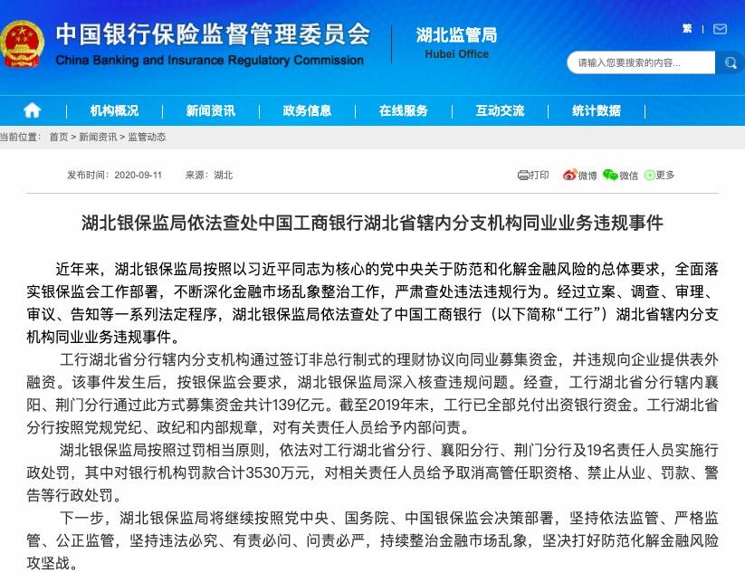 工商银行三分支机构违规募集资金139亿元 被罚3530万