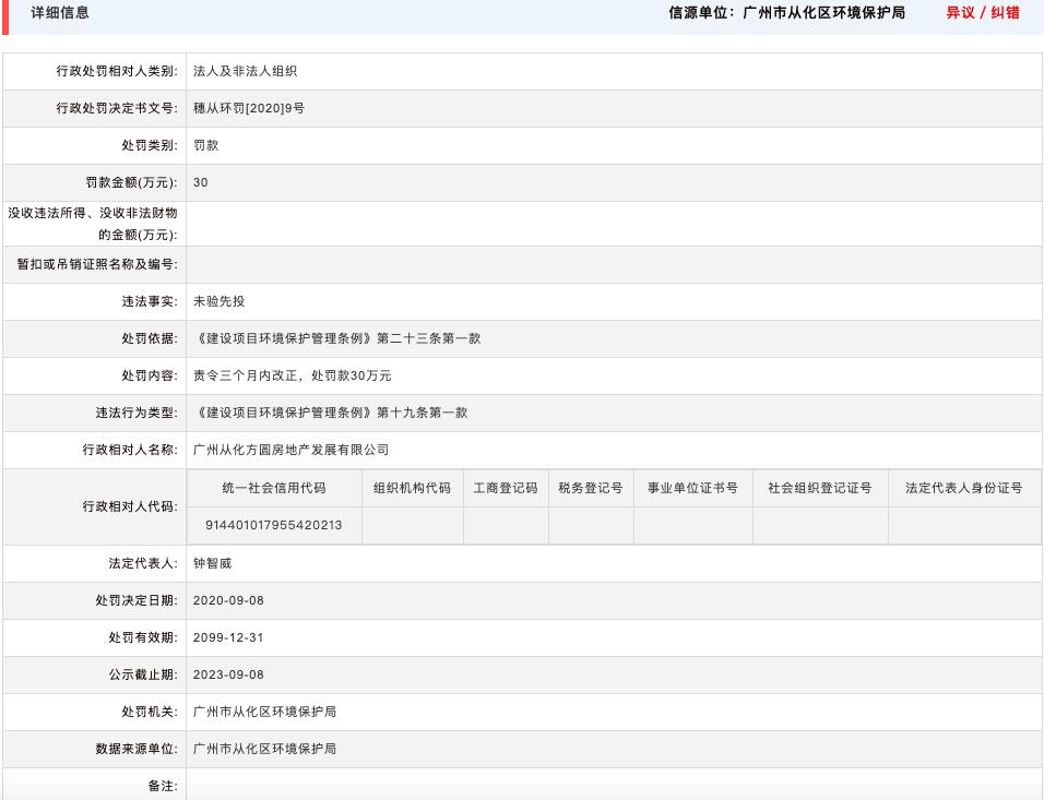 广州从化方圆房地产因项目未验先投环保违规被罚30万 其系方圆集团全资子公司