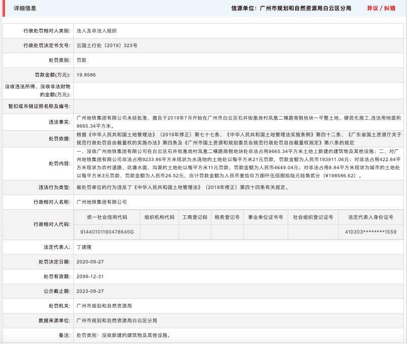 广州地铁集团因涉违法用地等接连收5罚单 合计罚款超126万
