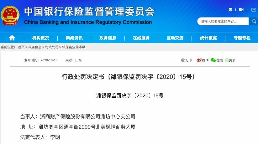 因编制提供虚假文件 浙商财险潍坊中心支公司被罚26万