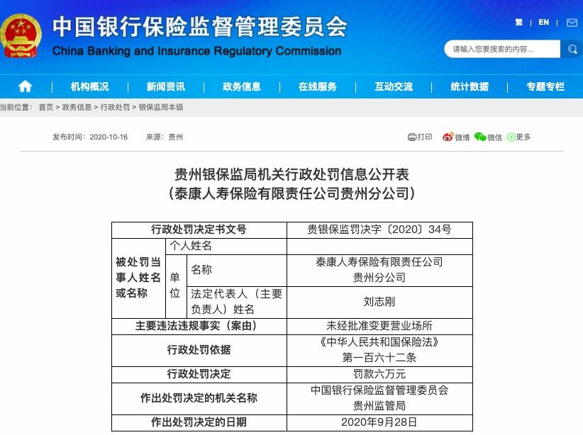 未经批准变更营业场所 泰康人寿贵州分公司