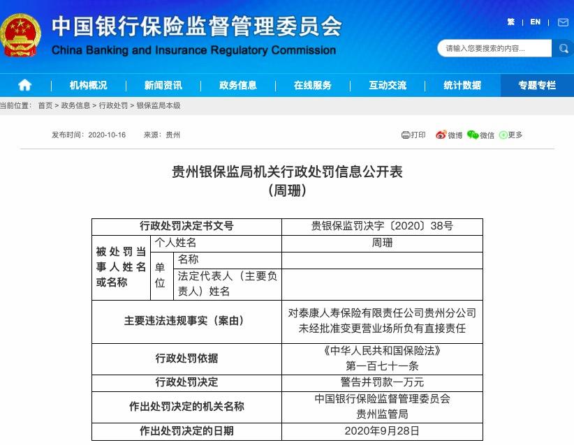 未经批准变更营业场所 泰康人寿贵州分公司被罚款6万