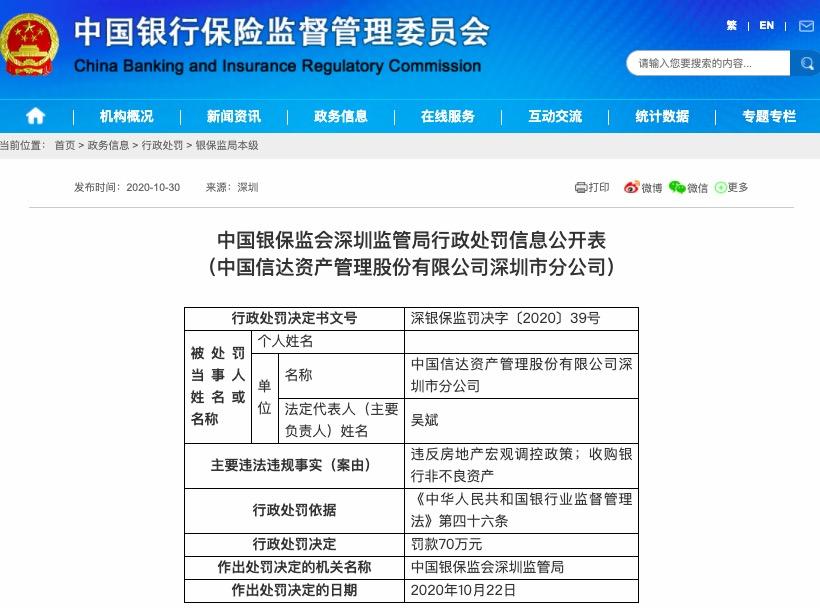 收购银行非不良资产 中国信达深圳分公司被罚70万元