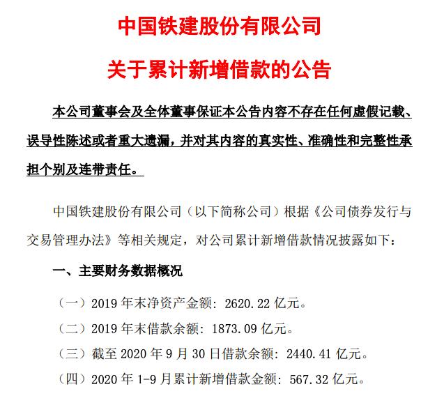 中国铁建:累计借款涨至2440.41亿 前三季新增借款567亿