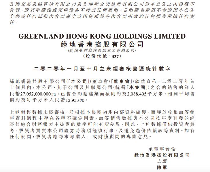 绿地香港前10月销售270.52亿同比跌三成 完成年目标仅一半