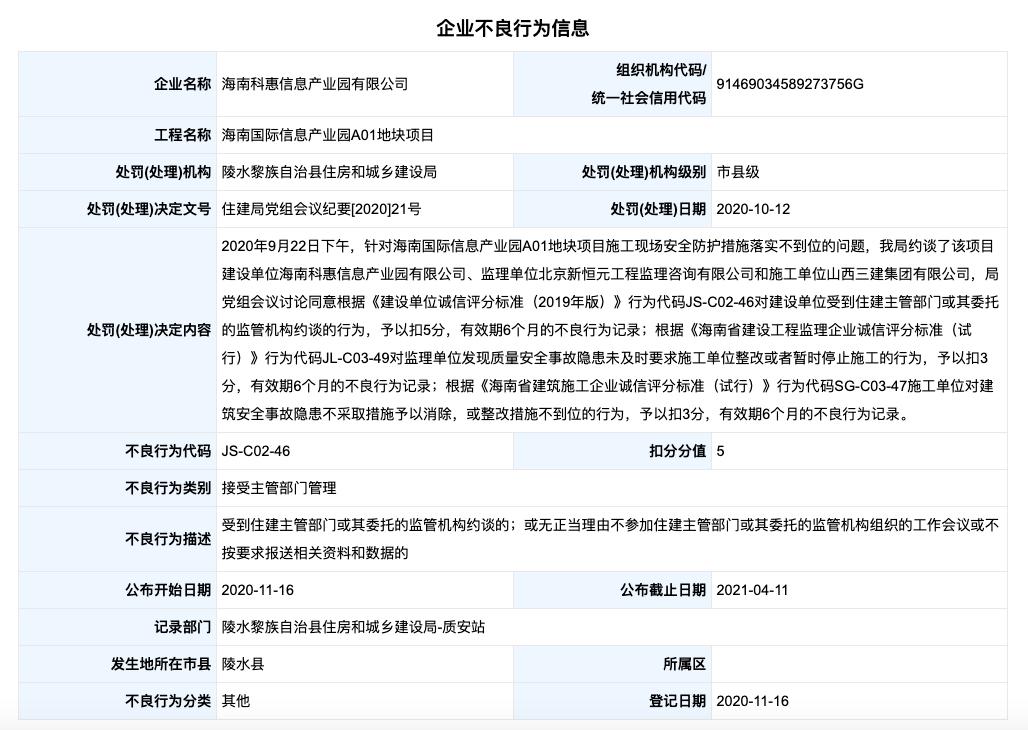 海南科惠信息产业园公司因建设项目涉事故隐