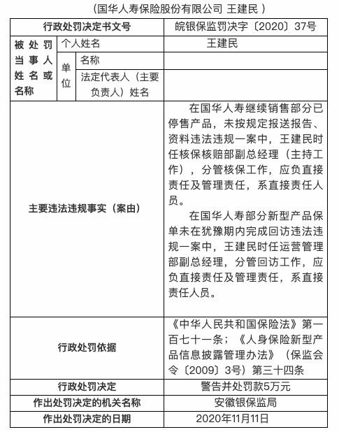 因继续销售部分已停售产品等 国华人寿被罚13万元