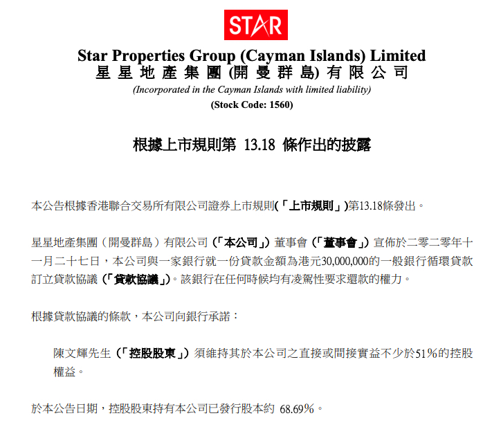 星星地产与银行订立涉金额3000万港元的循环贷款协议