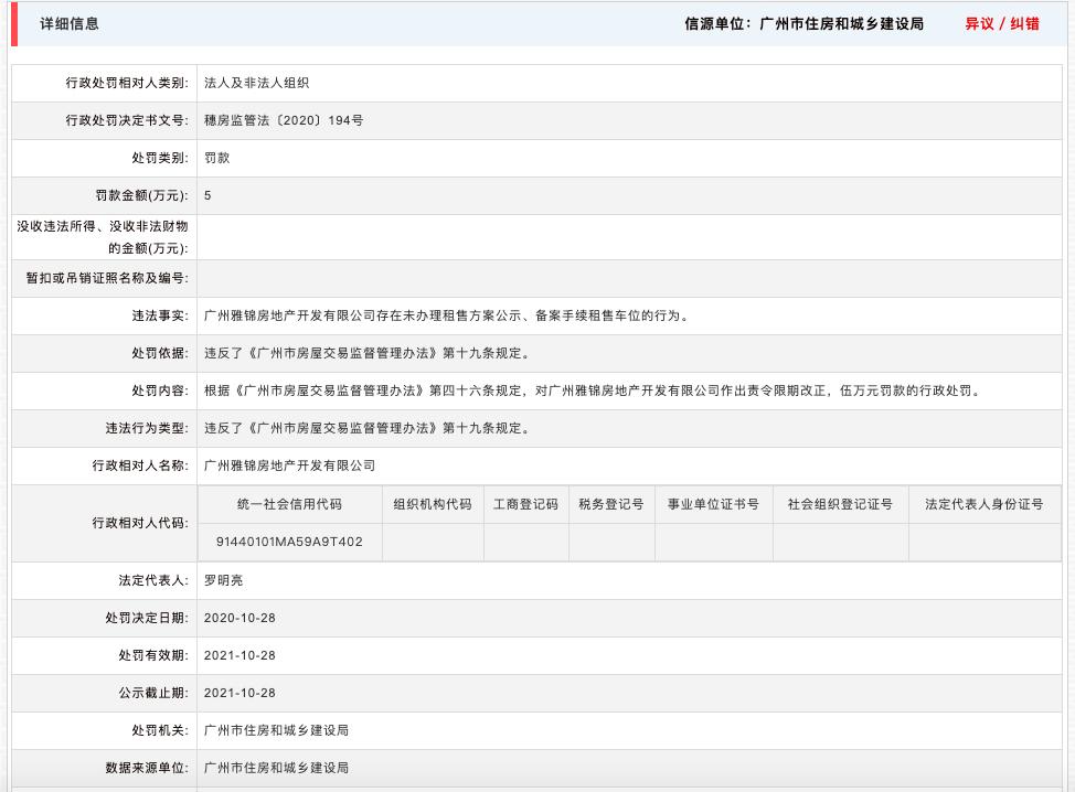 广州雅锦房地产开发公司违规租售车位被罚