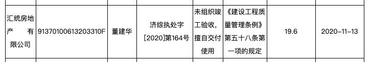 汇统房地产公司涉违规交付工程被罚19.6万元
