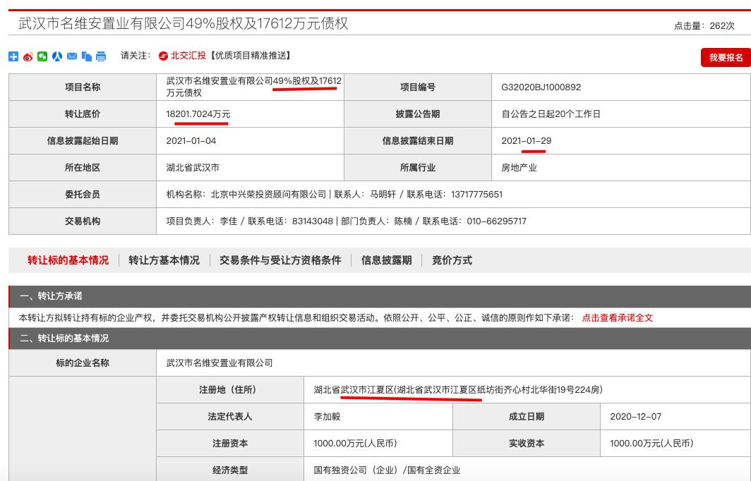 武汉名维安置业49%股权及1.76亿债权被作价1.82亿元挂牌